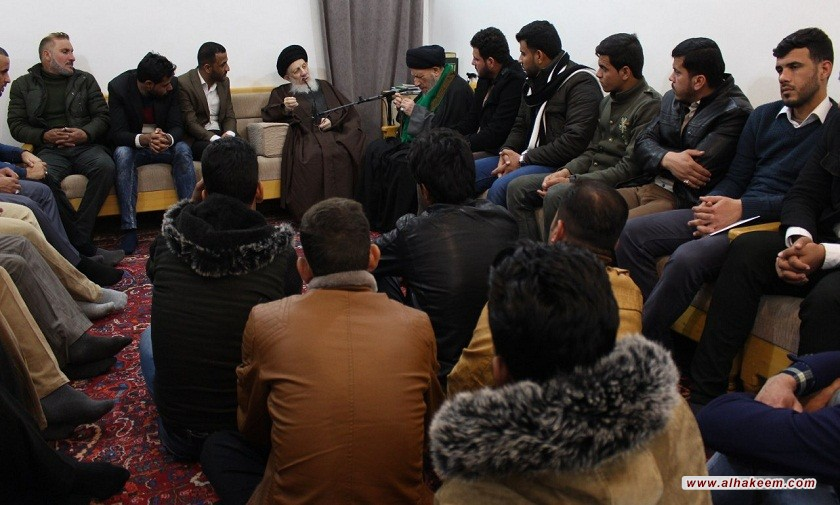 سماحة المرجع الكبير السيد الحكيم (مدّ ظله) يوصي المؤمنين في الجامعات، أن يأخذوا دورهم بتوجيه الشباب إلى جادة الحق