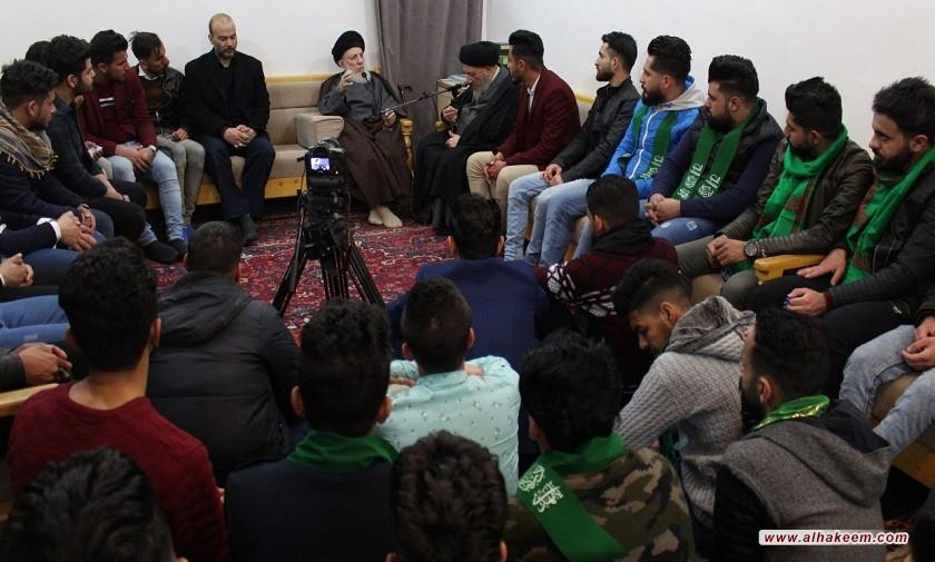 سماحة المرجع الكبير السيد الحكيم يستقبل وفود شبابية من ديالى والموصل، ويوصي (مدّ ظله) العراقيين إلى التواصل والاحترام المتبادل والتعايش، بعيدا عن الشحناء والبغضاء