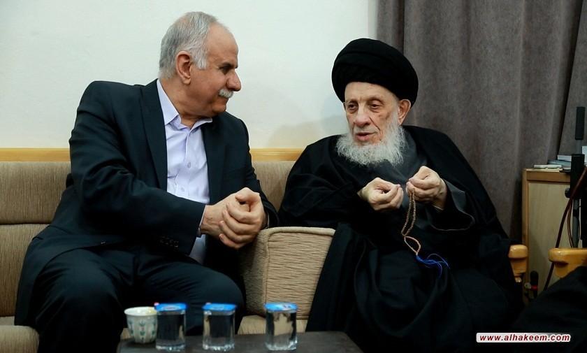 سماحة المرجع الكبير السيد الحكيم (مدّ ظله) يستقبل السفير الفلسطيني في العراق