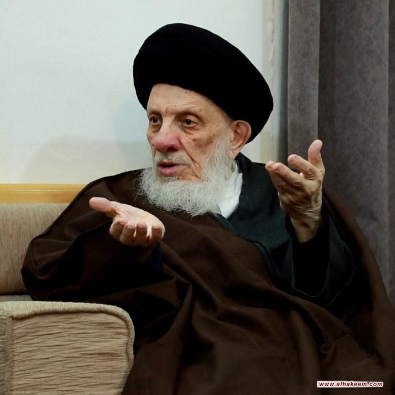 سماحة المرجع الكبير السيد الحكيم يستقبل وفد علماء الرباط المحمدي في محافظة الأنبار، ويوصي (مدّ ظله) العراقيين إلى مزيد من التواصل والتآخي والألفة لبناء بلدهم