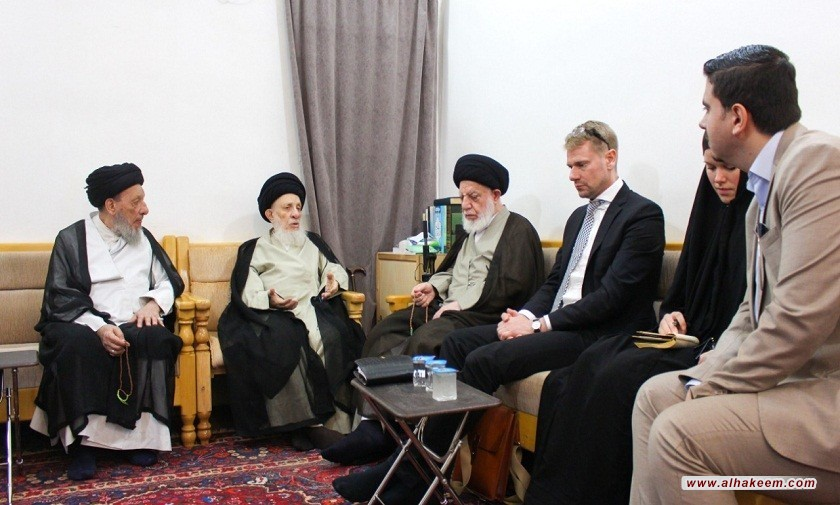مرجع عالیقدر حاج سید محمدسعید حکیم (مدظله) در دیدار سفیر سوئد:  مرجعیت دینی بر همزیستی مسالمت آمیز و احترام به دیگران تاکید دارد