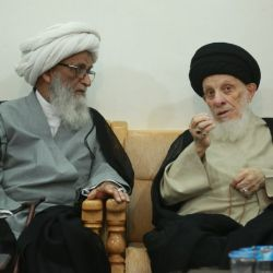 His Eminence, Grand Ayatollah al-Hakeem, receives His Eminence, Grand Ayatollah Shaikh Basheer al-Najafi
