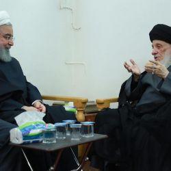 استقبال مرجع عالیقدر تشیع اقای حکیم (مدظله) از رئیس جمهوری اسلامی ایران دکتر شیخ حسن روحانی وهیئت همراه